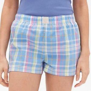 NEW Love by GAP Plaid Poplin pajama sleep shorts